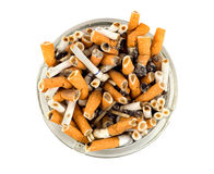 Cigarettes in an ashtray isolated Royalty Free Stock Photography
