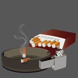 Cigarettes ashtray and lighter. Cigarettes pack full open, ashtray and lighter vector illustration Royalty Free Stock Photography