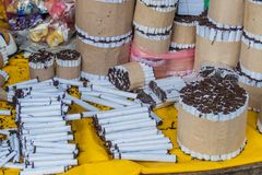 Cigarettes on Belen Market. In Iquitos stock photos
