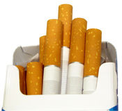 Cigarettes in box. Close up of cigarettes in box royalty free stock photos
