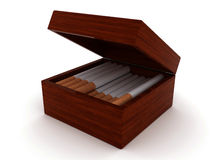 Cigarettes in box Stock Images