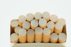 Cigarettes in box. Close-up few rows Stock Image