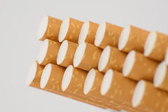 Cigarettes. In box close-up three rows Stock Photography