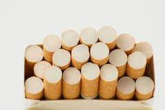 Cigarettes in box. On white background Stock Photos