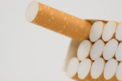 Cigarettes in box. Cigarettes  on white background one Stock Images