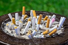 Cigarettes butt in ashtray Royalty Free Stock Photography