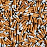 Cigarettes butts background. Closeup of many dirty cigarettes butts background Stock Image