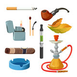 Cigarettes, cigars, hookahs, tobacco leaves, ceremonial pipe, lighter and ashtray. Things for smoking realistic colourful collection on white. Tobacco and Stock Photo