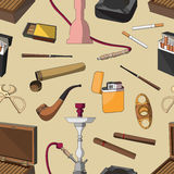Cigarettes, Cigars and Smoking Accessories pattern Royalty Free Stock Photography