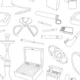 Cigarettes, Cigars and Smoking Accessories pattern Royalty Free Stock Photo