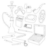 Cigarettes, Cigars and Smoking Accessories Royalty Free Stock Images