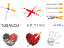 Cigarettes and drugs. Collection of pictures with the image cigarettes,hearts,inscriptions Royalty Free Stock Photo