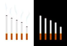 Cigarettes graph. Graph made from various size of heated cigarettes on white and black background Royalty Free Stock Photo