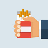 Cigarettes in hand man. Open pack of cigarettes in hand man. Vector illustration flat design. Isolated on white background. Bad habits. Smoker offers a cigarette Royalty Free Stock Image