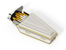 Cigarettes inside white coffin. 3D illustration Stock Photography