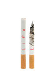 Cigarettes. Isolated cigaretes on white background with strong message Royalty Free Stock Photos