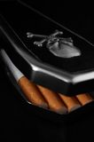 Cigarettes kill. Cigarettes in a coffin cigarette-case with a scull cut Royalty Free Stock Photos