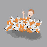 Cigarettes kill man. Man buried in bunch of cigarettes. Vector illustration Royalty Free Stock Image