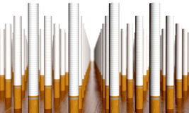 Cigarettes. Large array of cigarettes in rows Stock Photography