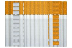 Cigarettes lie a pile. Cigarettes lie a pile on a white background Royalty Free Stock Photography