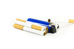 Cigarettes and a lighter. Isolated on white Royalty Free Stock Images