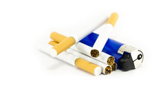 Cigarettes and a lighter Royalty Free Stock Photography
