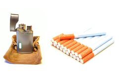 Cigarettes and lighter Royalty Free Stock Image