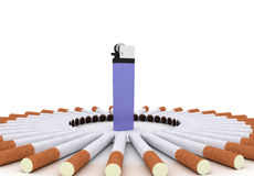 Cigarettes and lighter Royalty Free Stock Images