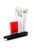Cigarettes, lighter and matches Royalty Free Stock Photos