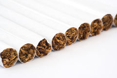 Cigarettes in line Royalty Free Stock Image