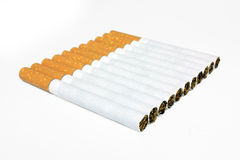 Cigarettes in line isolated Stock Image