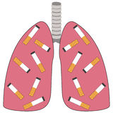 Cigarettes in the lungs Royalty Free Stock Photos