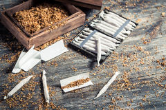 Cigarettes made ​​from tobacco and tablets Stock Image