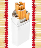 Cigarettes and matches Stock Images
