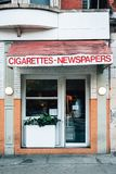 Cigarettes and Newspapers sign in the Lower East Side, Manhattan, New York City.  royalty free stock image