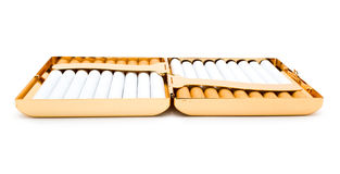 Cigarettes in the opened cigarette-case Royalty Free Stock Image