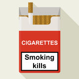 Cigarettes pack. Flat design. Royalty Free Stock Photography