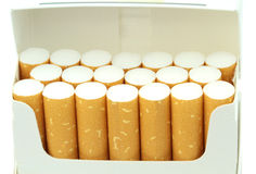 Cigarettes in a pack. Royalty Free Stock Photos