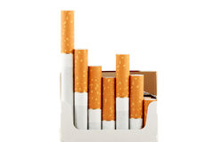 Cigarettes in pack on the white Royalty Free Stock Image