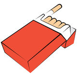 Cigarettes package. Illustration of opened red box with cigarettes Royalty Free Stock Photo