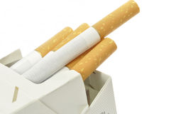 Cigarettes packet. On a white background Stock Photos