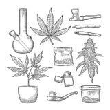 Cigarettes, pipe, lighter, buds cannabis. Vintage engraving. Set Marijuana. Cigarettes, pipe, lighter, buds, leaves, bottle, cigarette, glass jar, plastic bag vector illustration