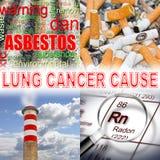 Cigarettes, radon gas, air pollution, asbestos: the main causes Royalty Free Stock Photos