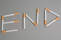 Cigarettes say END Royalty Free Stock Photo