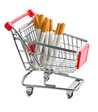 Cigarettes in shopping cart Stock Photos