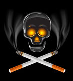 Cigarettes with skull - danger of smoking concept Royalty Free Stock Photo
