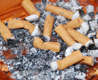 Cigarettes stubs. In the ashtray royalty free stock photos