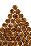 Cigarettes triangle heap stock image