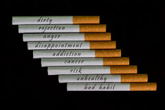 Cigarettes with the warning signs Stock Images