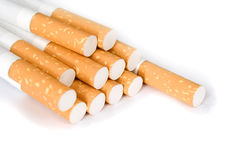 Cigarettes on a white background Royalty Free Stock Photo